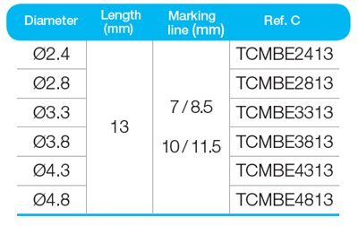 BonEX Kit Diameter, Length, Marking Line Data | ids integrated dental systems